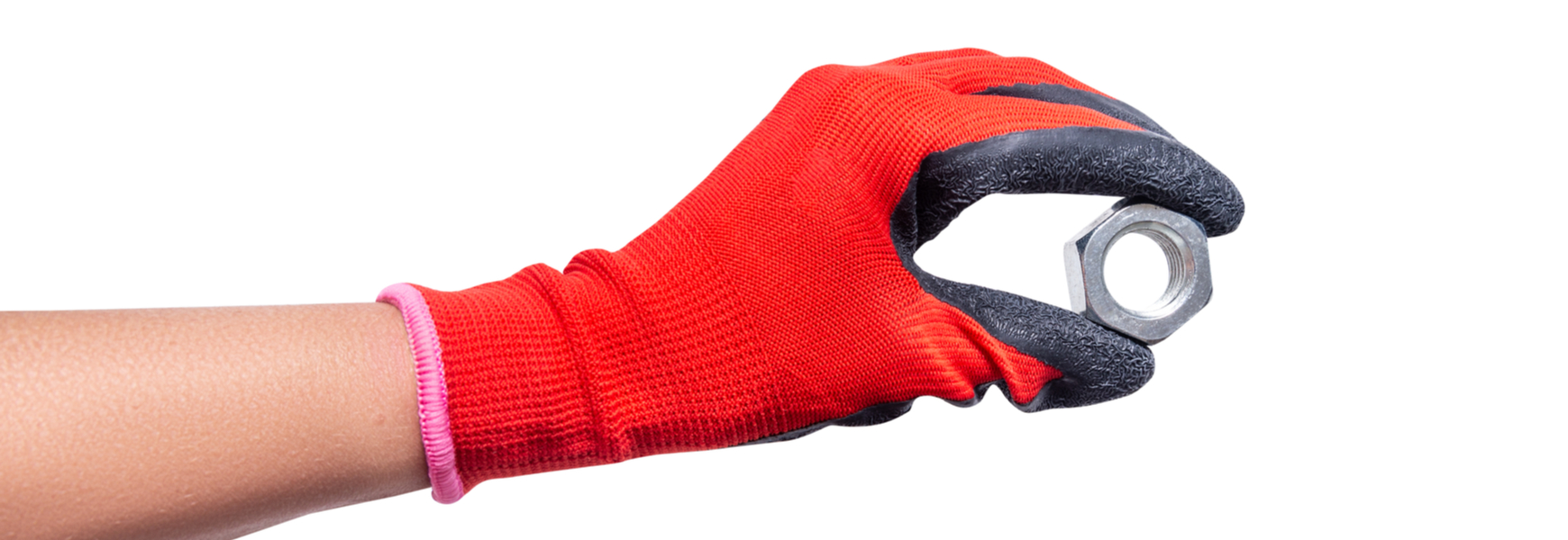 Worker with rubbberized glove holding a nut screw