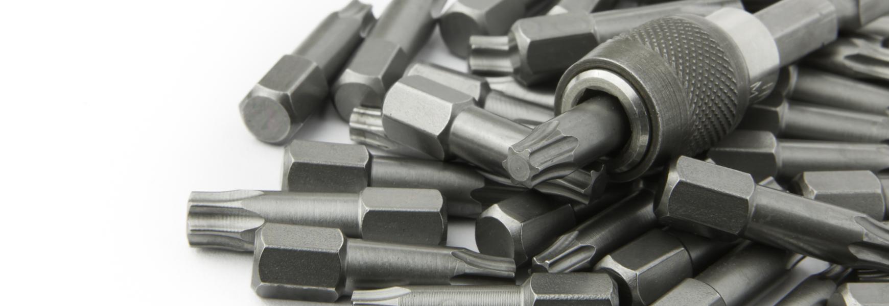 A pile of screwdriver bits