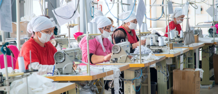 Factory workers in garment manufacturing in China