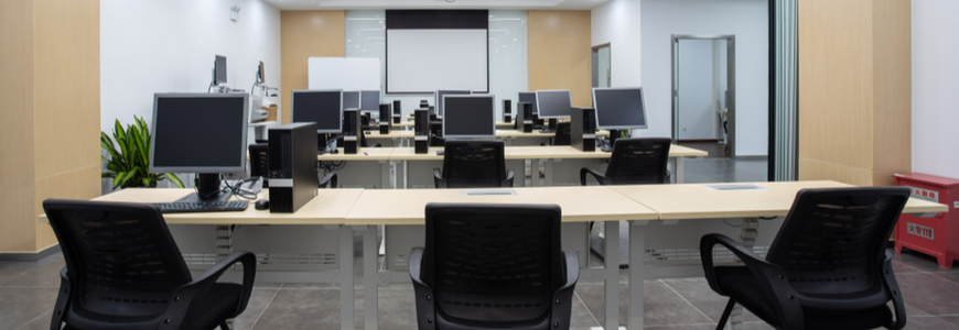 Computer training room in a factory in China