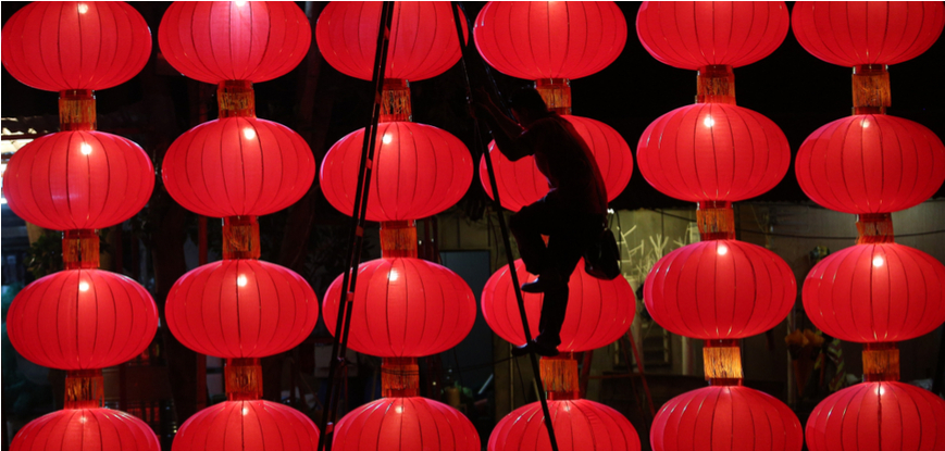 Chinese New Year Red Lanterns Decoration